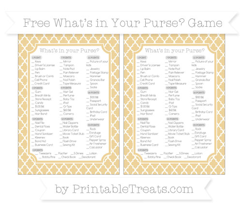 Free Pastel Bright Orange Moroccan Tile What's in Your Purse Baby Shower Game