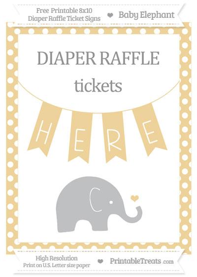 Free Pastel Bright Orange Polka Dot Baby Elephant 8x10 Diaper Raffle Ticket Sign