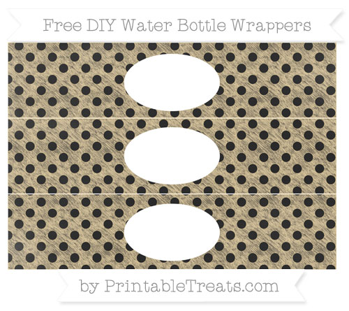 Free Pastel Bright Orange Polka Dot Chalk Style DIY Water Bottle Wrappers