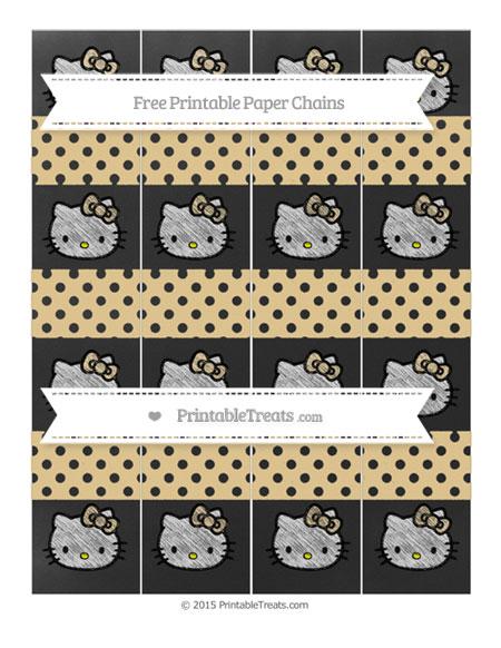 Free Pastel Bright Orange Polka Dot Chalk Style Hello Kitty Paper Chains