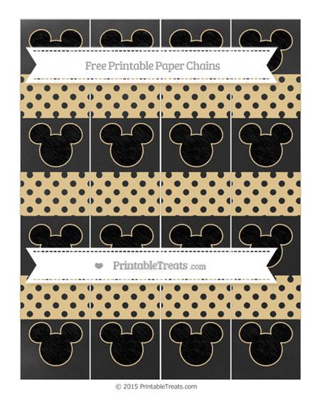 Free Pastel Bright Orange Polka Dot Chalk Style Mickey Mouse Paper Chains