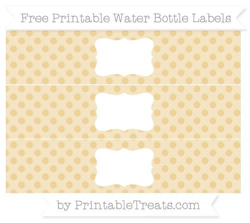 Free Pastel Bright Orange Polka Dot Water Bottle Labels