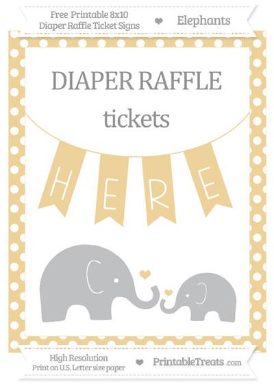 Free Pastel Bright Orange Polka Dot Elephant 8x10 Diaper Raffle Ticket Sign