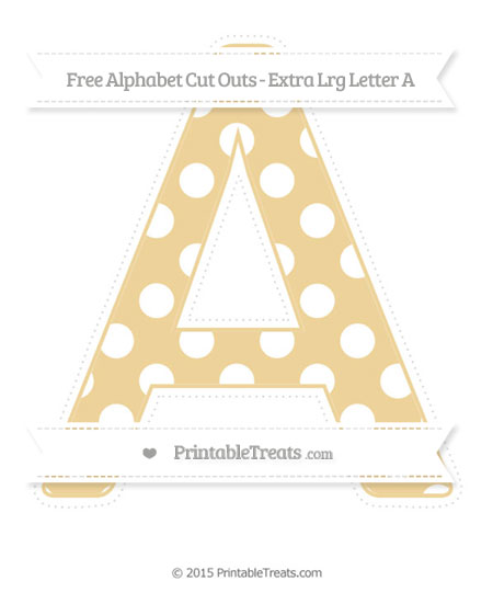 Free Pastel Bright Orange Polka Dot Extra Large Capital Letter A Cut Outs