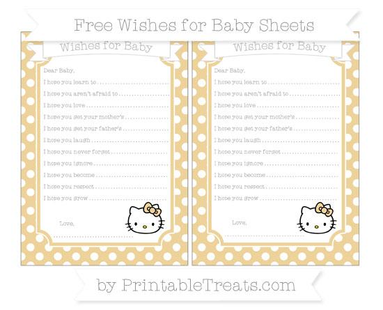 Free Pastel Bright Orange Polka Dot Hello Kitty Wishes for Baby Sheets