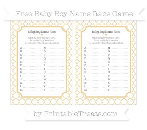 Free Pastel Bright Orange Quatrefoil Pattern Baby Boy Name Race Game