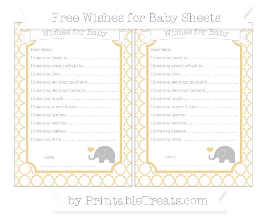 Free Pastel Bright Orange Quatrefoil Pattern Baby Elephant Wishes for Baby Sheets