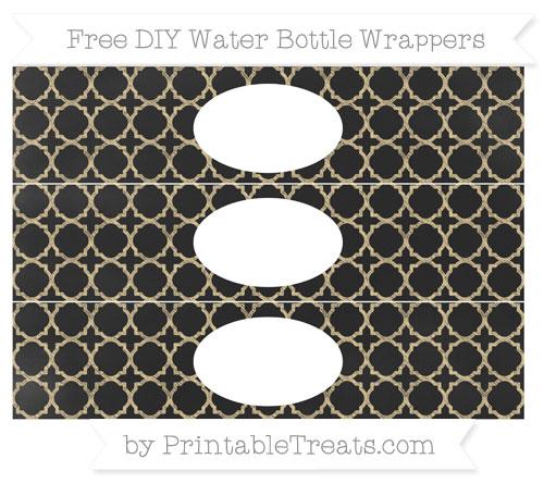 Free Pastel Bright Orange Quatrefoil Pattern Chalk Style DIY Water Bottle Wrappers