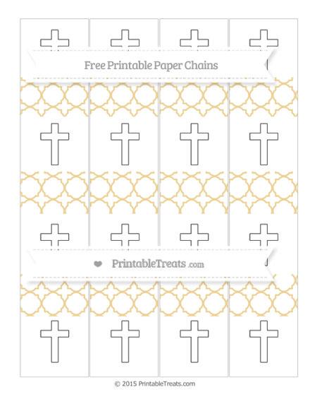 Free Pastel Bright Orange Quatrefoil Pattern Cross Paper Chains