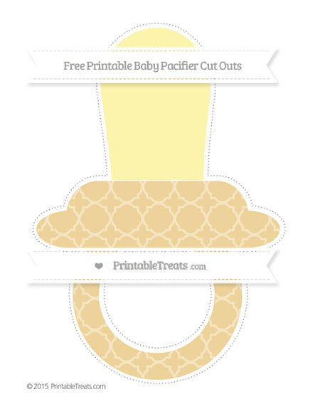 Free Pastel Bright Orange Quatrefoil Pattern Extra Large Baby Pacifier Cut Outs
