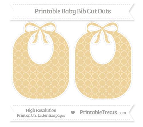 Free Pastel Bright Orange Quatrefoil Pattern Large Baby Bib Cut Outs
