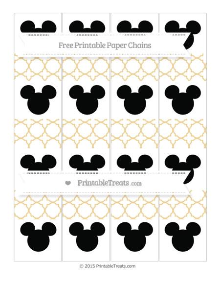 Free Pastel Bright Orange Quatrefoil Pattern Mickey Mouse Paper Chains