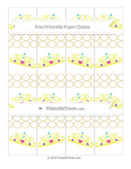 Free Pastel Bright Orange Quatrefoil Pattern Princess Tiara Paper Chains