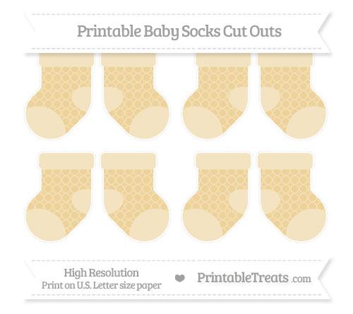Free Pastel Bright Orange Quatrefoil Pattern Small Baby Socks Cut Outs