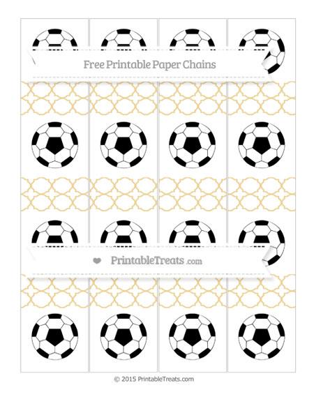 Free Pastel Bright Orange Quatrefoil Pattern Soccer Paper Chains