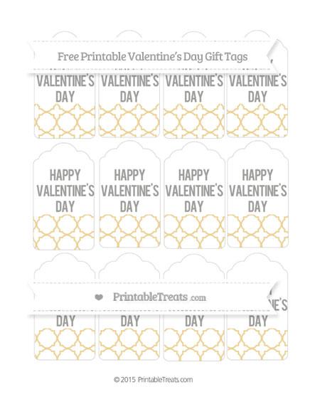 Free Pastel Bright Orange Quatrefoil Pattern Valentine's Day Gift Tags