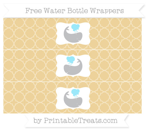 Free Pastel Bright Orange Quatrefoil Pattern Whale Water Bottle Wrappers
