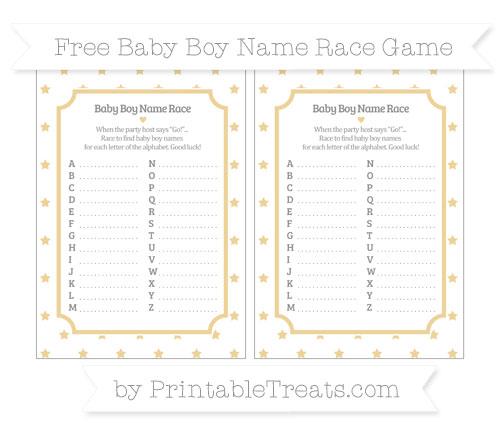 Free Pastel Bright Orange Star Pattern Baby Boy Name Race Game