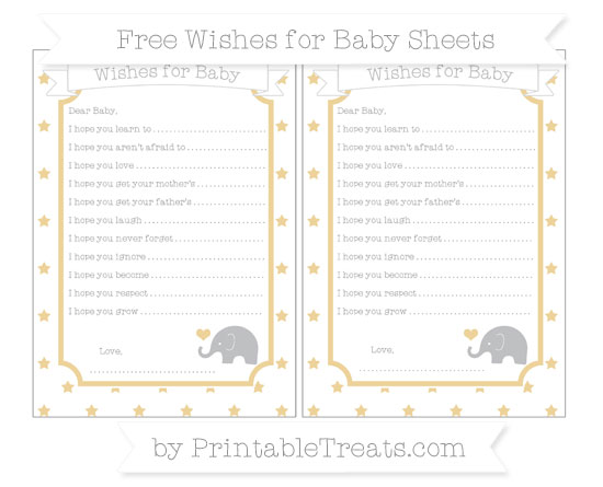 Free Pastel Bright Orange Star Pattern Baby Elephant Wishes for Baby Sheets