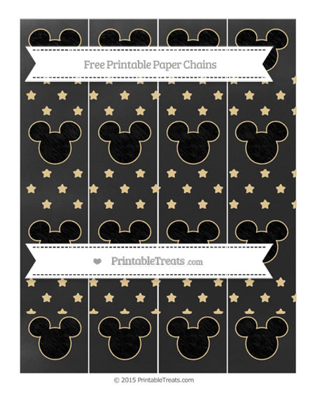 Free Pastel Bright Orange Star Pattern Chalk Style Mickey Mouse Paper Chains