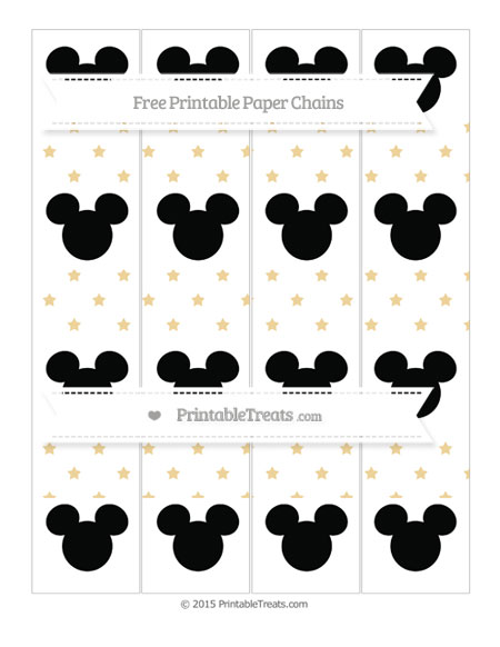 Free Pastel Bright Orange Star Pattern Mickey Mouse Paper Chains