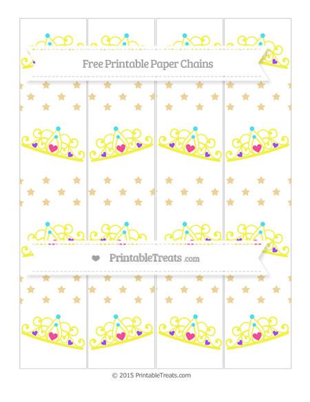 Free Pastel Bright Orange Star Pattern Princess Tiara Paper Chains