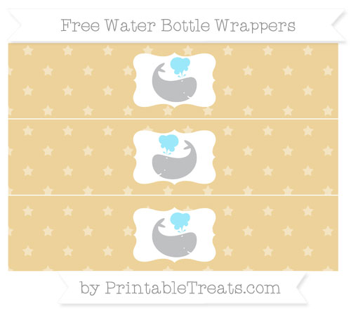 Free Pastel Bright Orange Star Pattern Whale Water Bottle Wrappers
