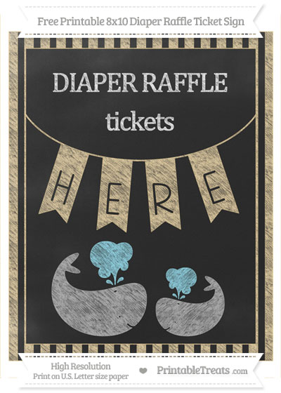 Free Pastel Bright Orange Striped Chalk Style Baby Whale 8x10 Diaper Raffle Ticket Sign