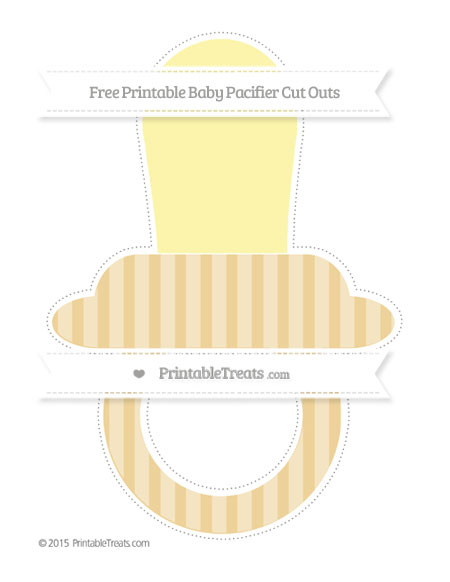 Free Pastel Bright Orange Striped Extra Large Baby Pacifier Cut Outs