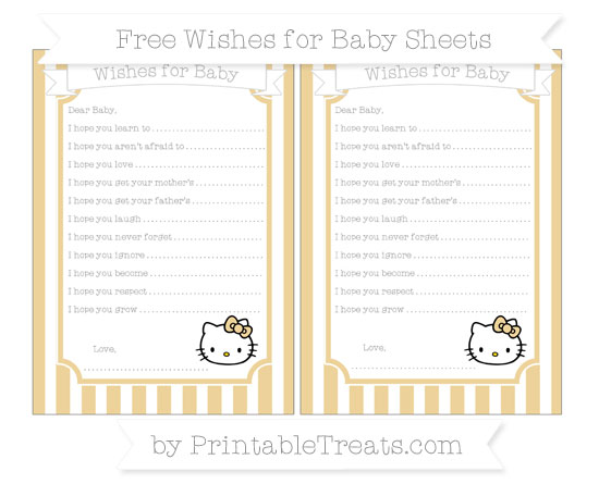 Free Pastel Bright Orange Striped Hello Kitty Wishes for Baby Sheets