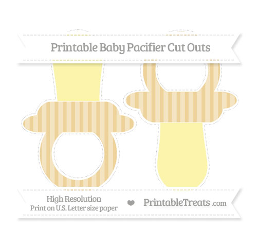 Free Pastel Bright Orange Striped Large Baby Pacifier Cut Outs