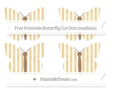 Free Pastel Bright Orange Striped Medium Butterfly Cut Outs