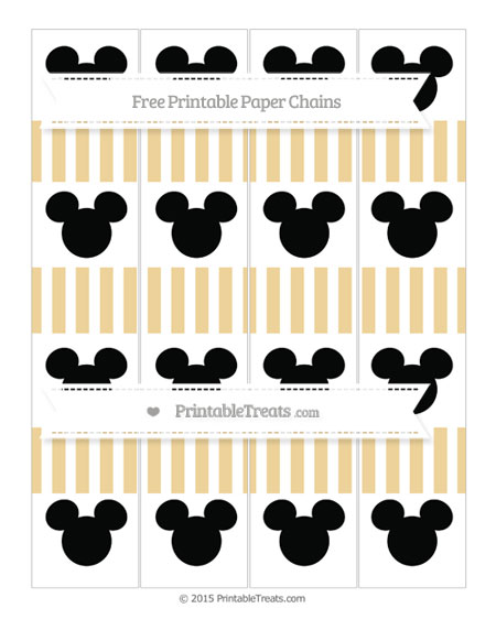 Free Pastel Bright Orange Striped Mickey Mouse Paper Chains