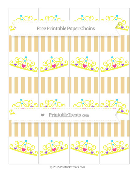 Free Pastel Bright Orange Striped Princess Tiara Paper Chains