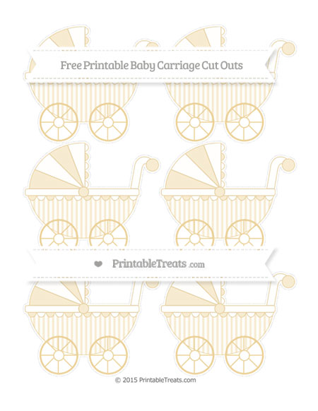 Free Pastel Bright Orange Striped Small Baby Carriage Cut Outs