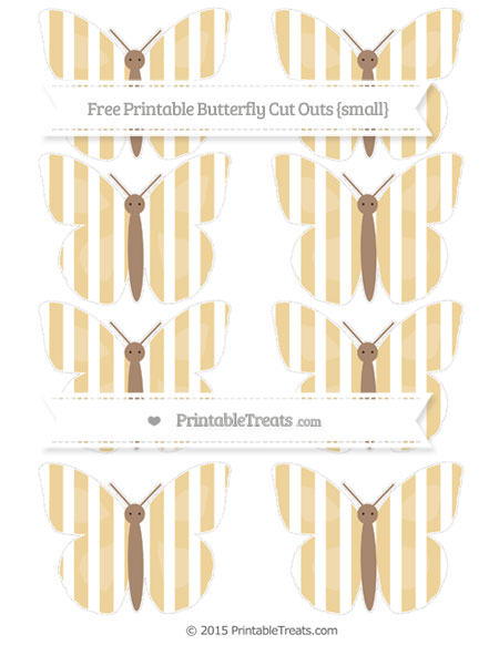 Free Pastel Bright Orange Striped Small Butterfly Cut Outs