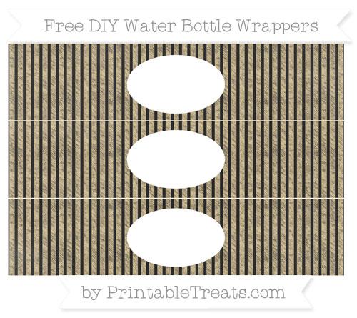 Free Pastel Bright Orange Thin Striped Pattern Chalk Style DIY Water Bottle Wrappers