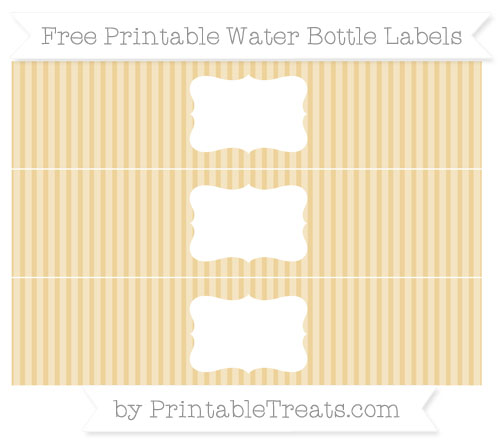 Free Pastel Bright Orange Thin Striped Pattern Water Bottle Labels