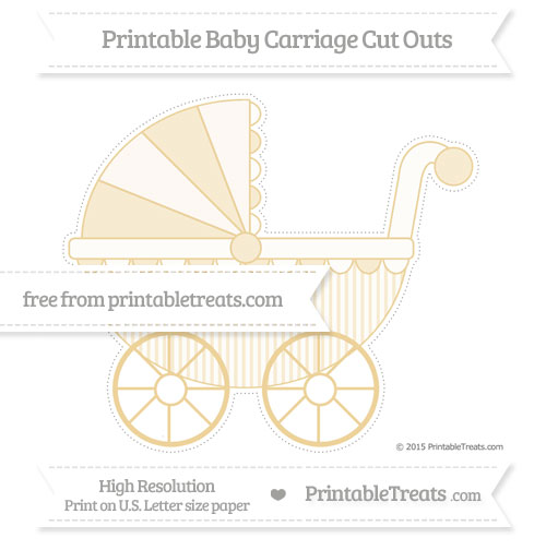 Free Pastel Bright Orange Thin Striped Pattern Extra Large Baby Carriage Cut Outs
