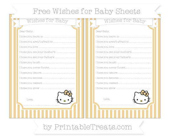 Free Pastel Bright Orange Thin Striped Pattern Hello Kitty Wishes for Baby Sheets