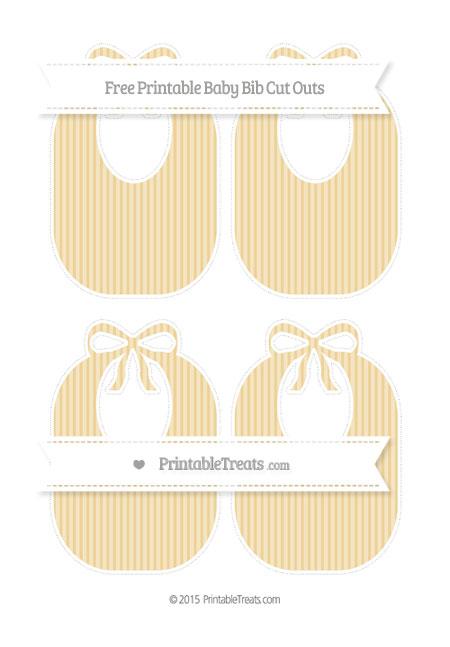 Free Pastel Bright Orange Thin Striped Pattern Medium Baby Bib Cut Outs