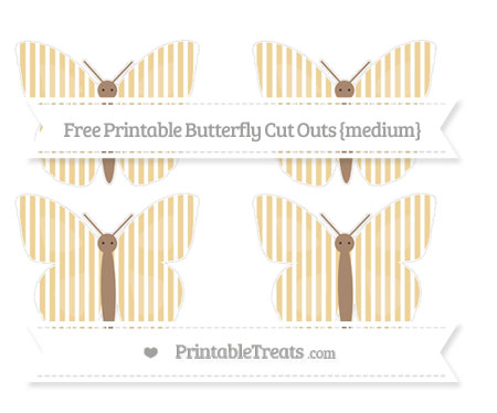 Free Pastel Bright Orange Thin Striped Pattern Medium Butterfly Cut Outs