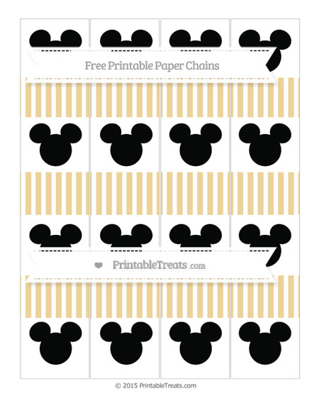 Free Pastel Bright Orange Thin Striped Pattern Mickey Mouse Paper Chains
