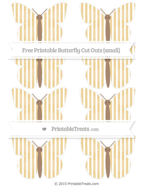 Free Pastel Bright Orange Thin Striped Pattern Small Butterfly Cut Outs