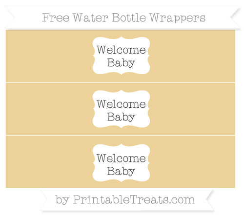 Free Pastel Bright Orange Welcome Baby Water Bottle Wrappers