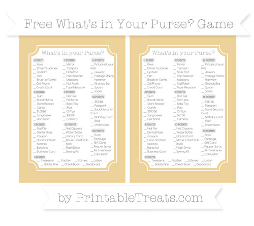 Free Pastel Bright Orange What's in Your Purse Baby Shower Game