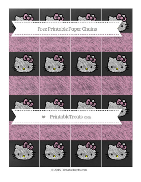 Free Pastel Bubblegum Pink Chalk Style Hello Kitty Paper Chains
