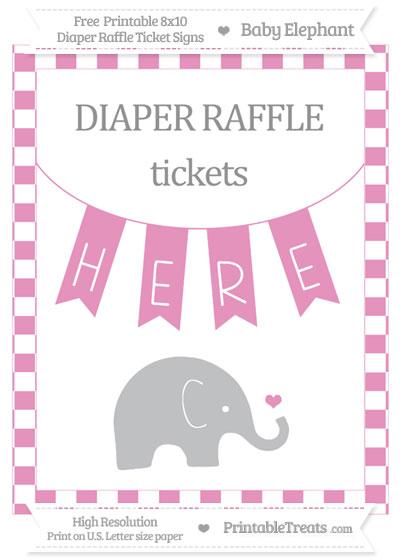 Free Pastel Bubblegum Pink Checker Pattern Baby Elephant 8x10 Diaper Raffle Ticket Sign