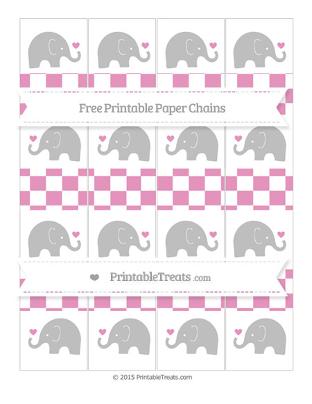 Free Pastel Bubblegum Pink Checker Pattern Baby Elephant Paper Chains