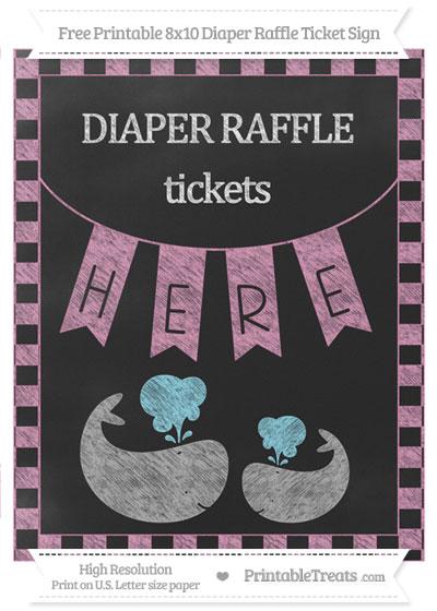 Free Pastel Bubblegum Pink Checker Pattern Chalk Style Baby Whale 8x10 Diaper Raffle Ticket Sign